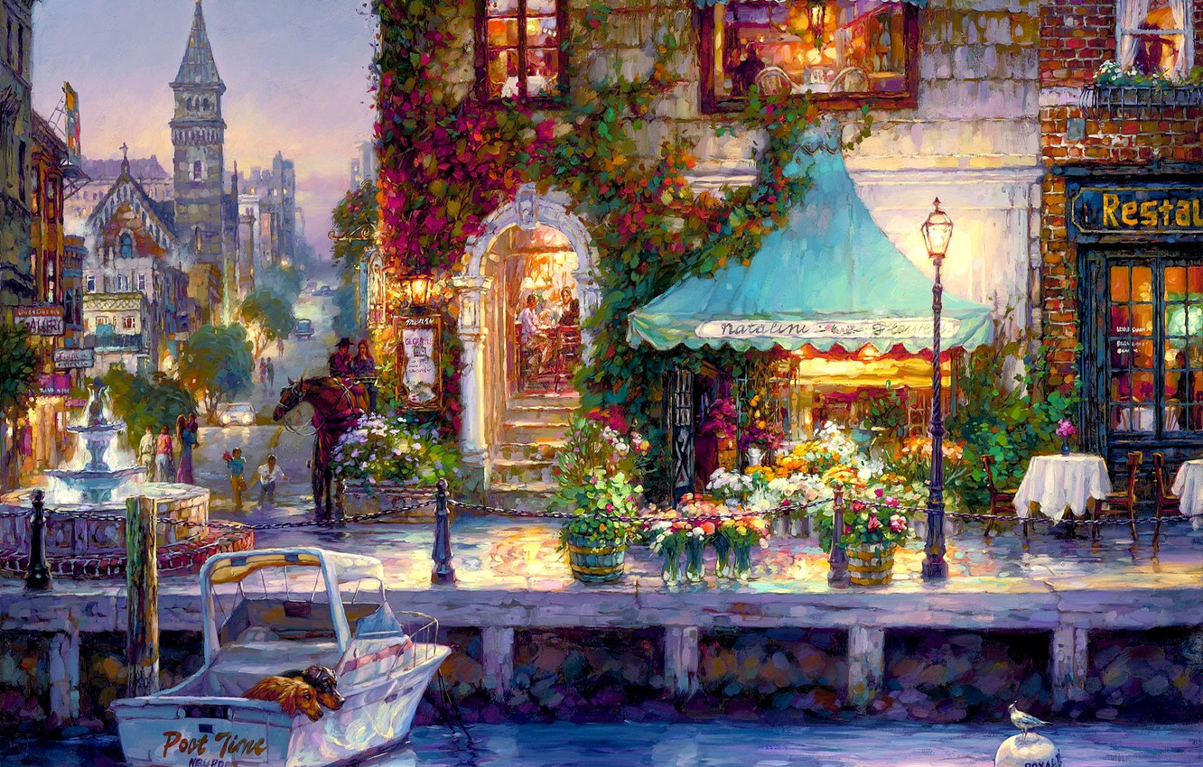 Photo wallpaper flowers, the city, river, boat, home, the evening, lantern, restaurant, Cao Yong