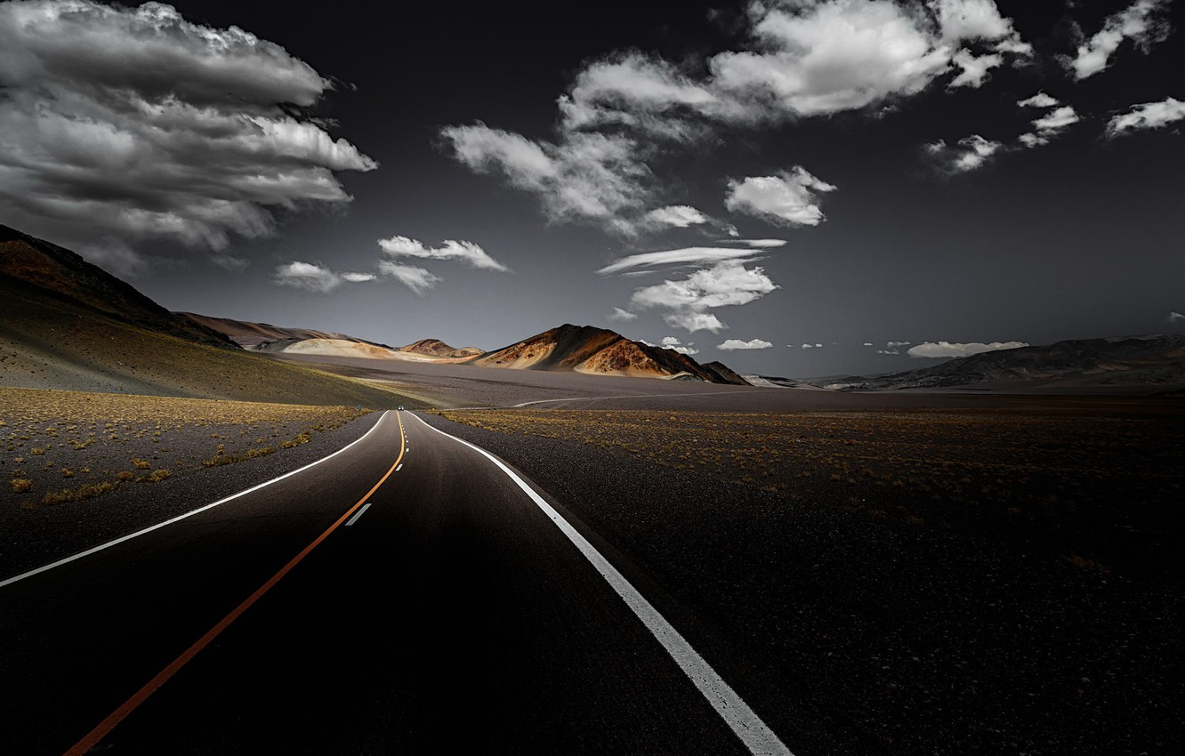 Photo wallpaper road, the sky, mountains, valley