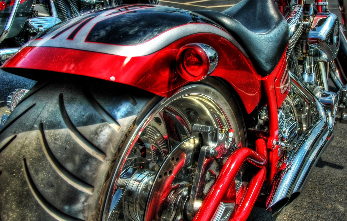 Photo wallpaper red, engine, wheel, motorcycle, rubber, chrome and black