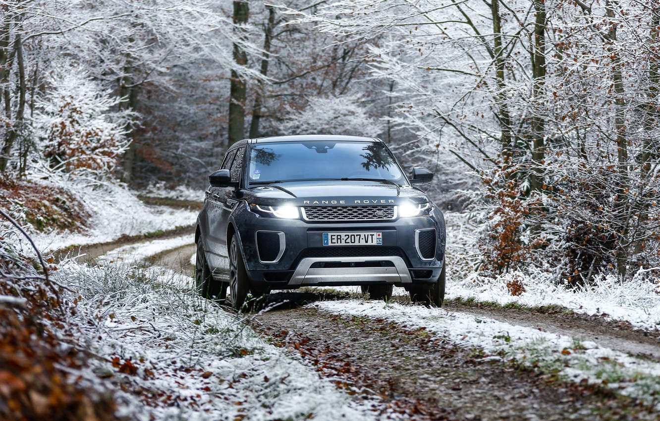 Photo wallpaper winter, snow, lights, Range Rover, Evoque, Autobiography, Si4