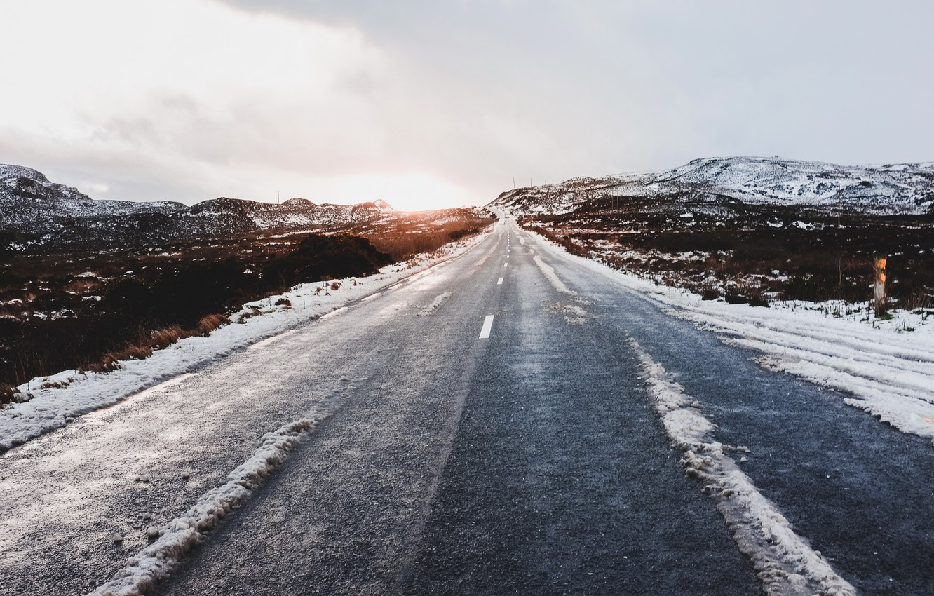 Photo wallpaper cold, road, morning