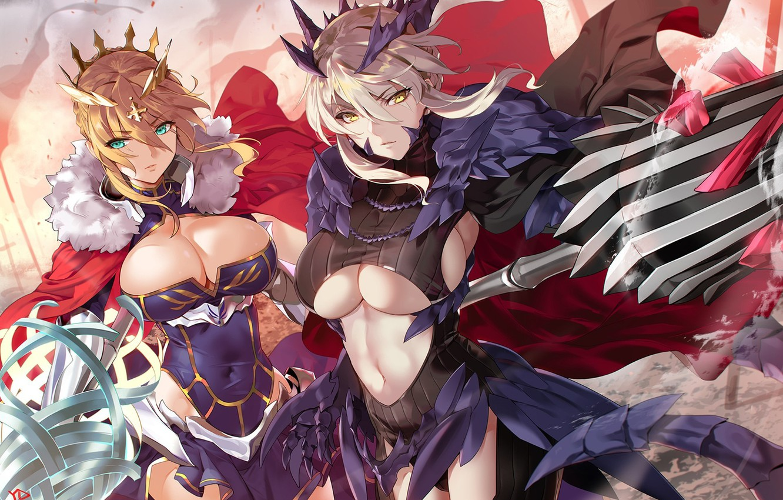 Photo wallpaper armor, weapon, big, umbrella, anime, pretty, manga, oppai, strong, sugoi, bishojo, kyojin, japonese, Fate Grand …