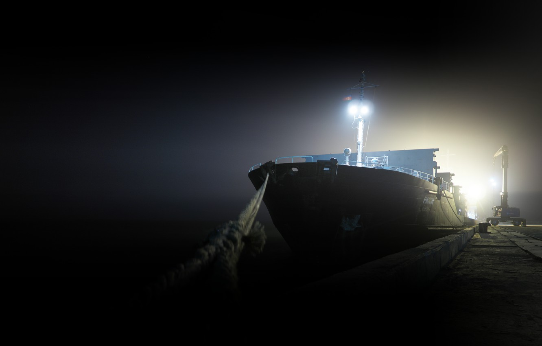 Photo wallpaper night, ship, Marina