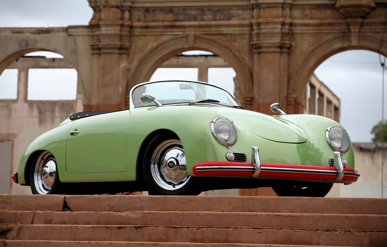 Photo wallpaper Porsche, Classic, Green, 1957, Speedster, Stairs
