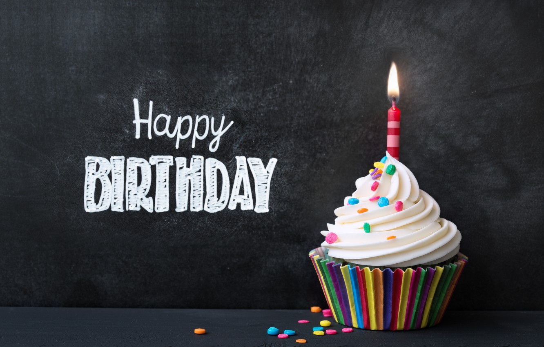 Photo wallpaper candles, colorful, rainbow, cake, cream, Happy Birthday, colours, cupcake, cupcake, celebration, cream, decoration, candle, Birthday
