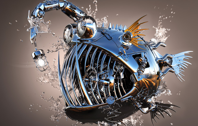 Photo wallpaper water, drops, metal, Shine, fish, 3Ds