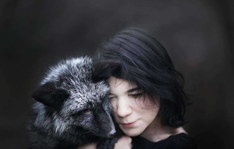 Photo wallpaper girl, background, Fox