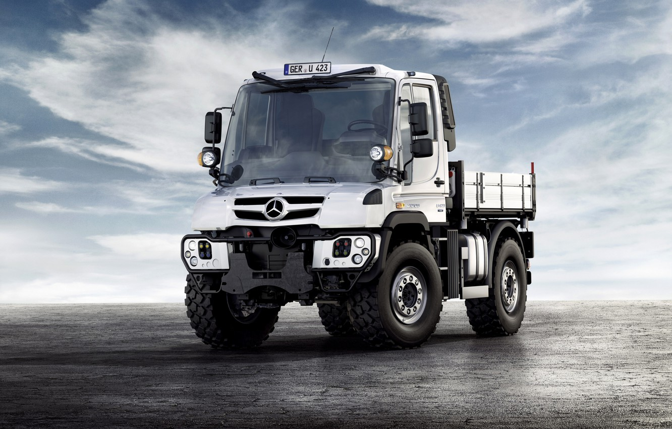 Photo wallpaper white, the sky, clouds, surface, Mercedes-Benz, truck, Unimog, U423