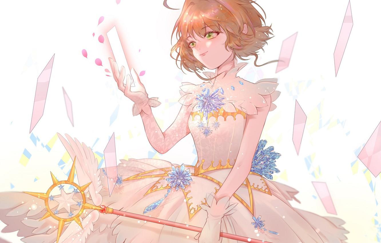 Photo wallpaper wings, angel, girl, green eyes, Card Captor Sakura, Sakura - collector cards