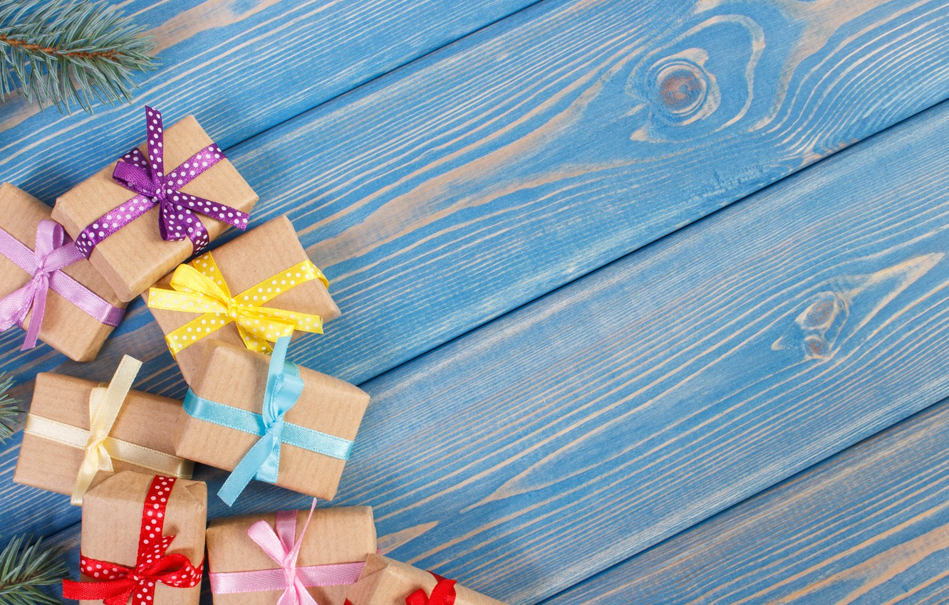 Photo wallpaper tape, gifts, bow, wood, box, gifts