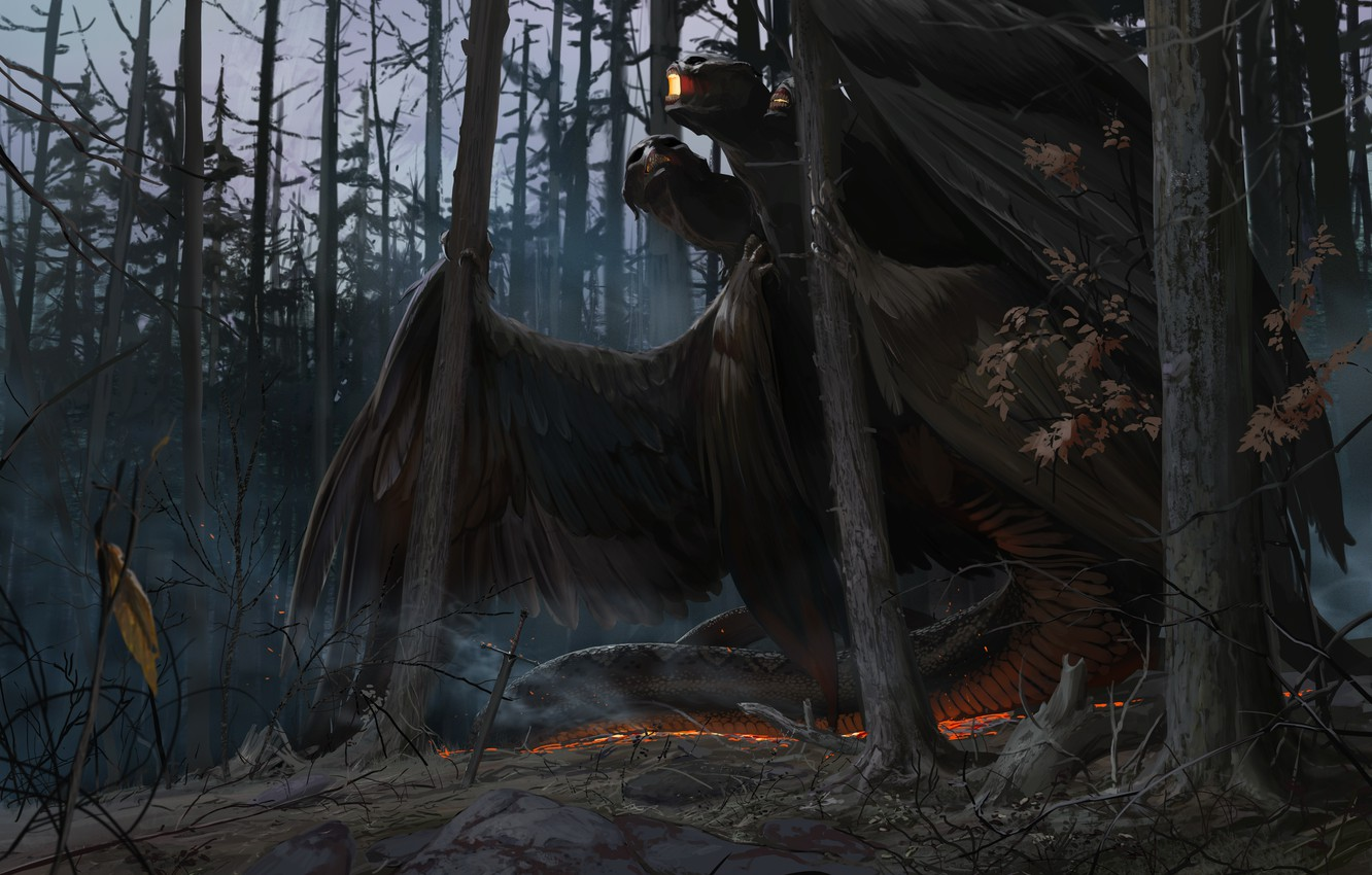 Photo wallpaper dragon, sword, being, Forest