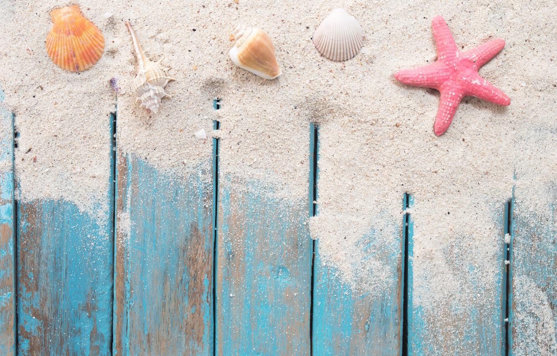 Photo wallpaper sand, beach, star, shell, summer, beach, wood, sand, marine, starfish, seashells