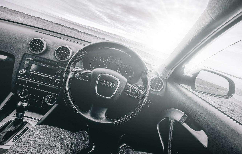 Photo wallpaper Audi, black and white, salon