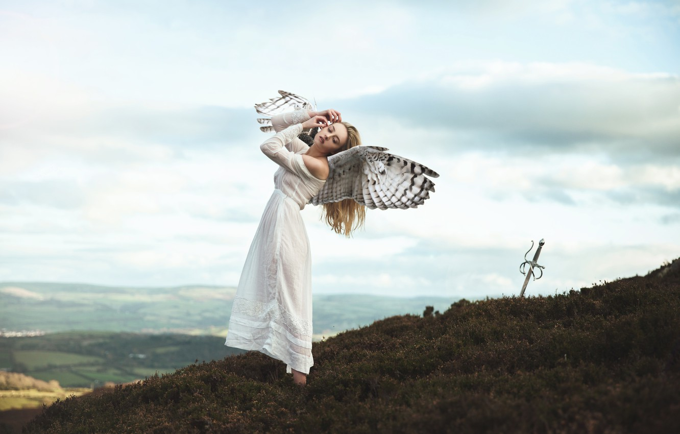 Photo wallpaper the sky, girl, clouds, mountains, pose, fantasy, mood, height, wings, the situation, angel, sword, dress, …