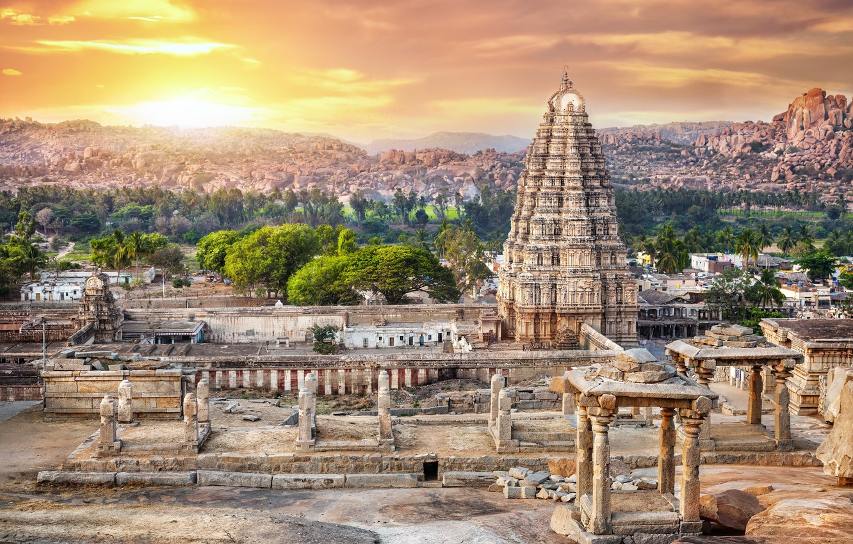 Photo wallpaper landscape, India, temple, antiquity