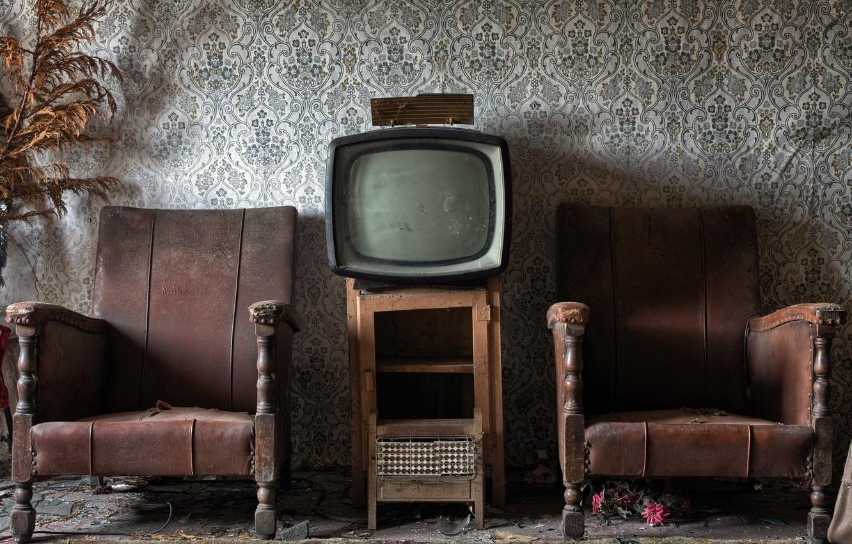 Photo wallpaper room, chair, TV
