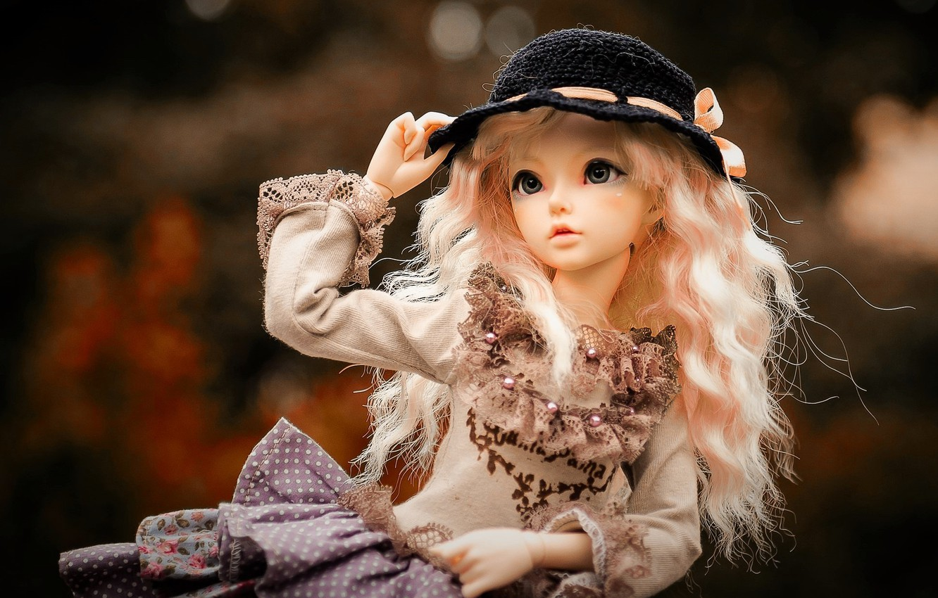 Photo wallpaper look, toy, doll, girl, hat