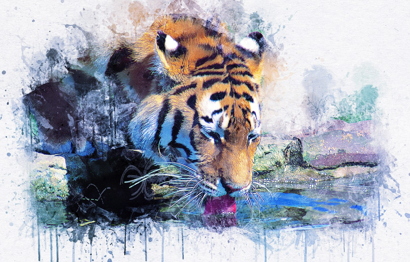 Photo wallpaper tiger, picture, watercolor, painting