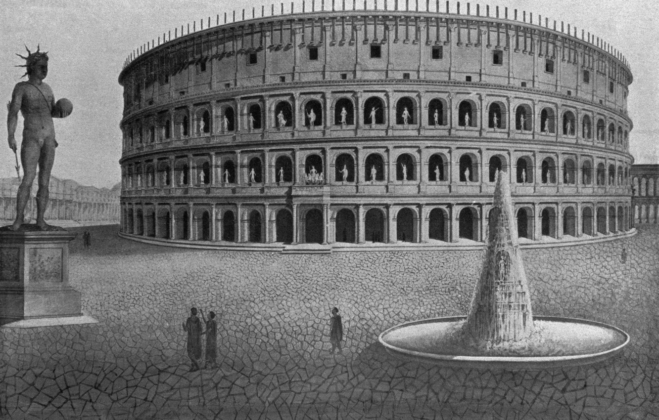 Photo wallpaper Rome, antique, Amphitheatre, colosseum would have looked like, the heyday of the Colosseum