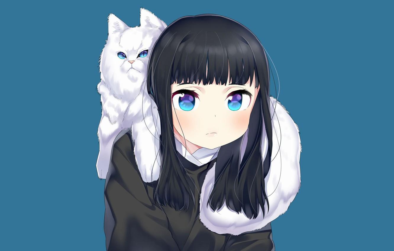 Photo wallpaper cat, cat, anime, art, girl, blue background