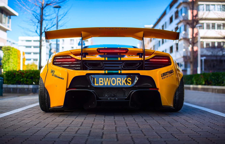 Photo wallpaper the city, tuning, McLaren, rear view, Liberty Walk, 650S, LBW, 641hp 3.8L V8