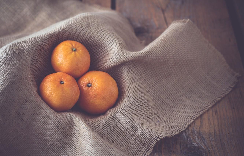 Photo wallpaper napkin, tangerines, three Mandarin