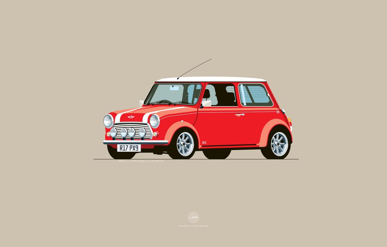 Photo wallpaper Red, Auto, Mini, Cooper, Minimalism, Figure, Machine, Mini Cooper, Art, Mini, Nik Schulz, R17PX9, R17-PX9, ...