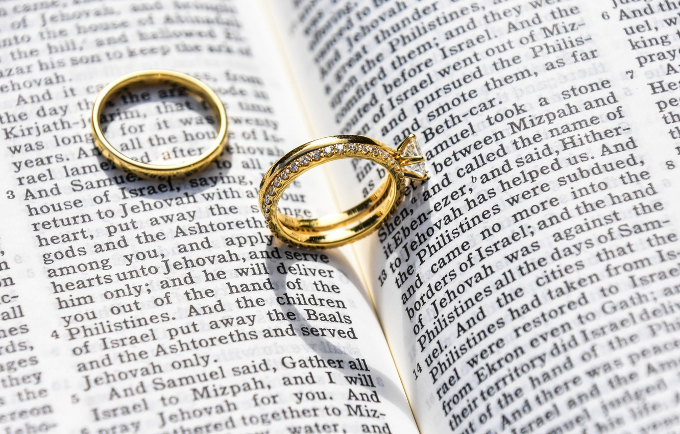 Photo wallpaper decoration, gold, ring, book, wedding