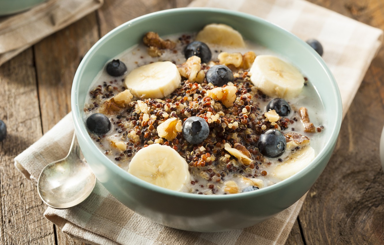 Photo wallpaper Breakfast, blueberries, bananas, breakfast, muesli