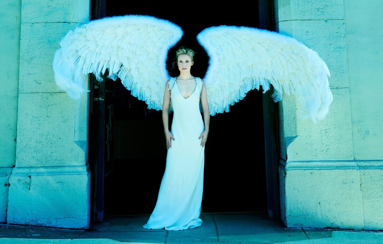Photo wallpaper wings, angel, figure, dress, actress, hairstyle, blonde, in white, photoshoot, posing, Kristen Bell, Kristen Bell, …
