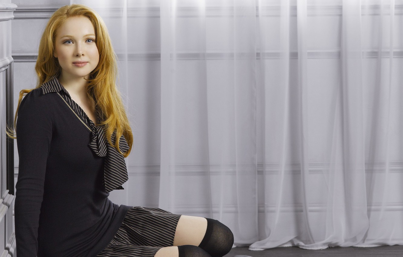 Photo wallpaper Girl, Look, Girl, Eyes, Curtains, Actress, Stockings, Red, Sitting, Beauty, Eyes, Beautiful, Redhead, Actress, Look, …