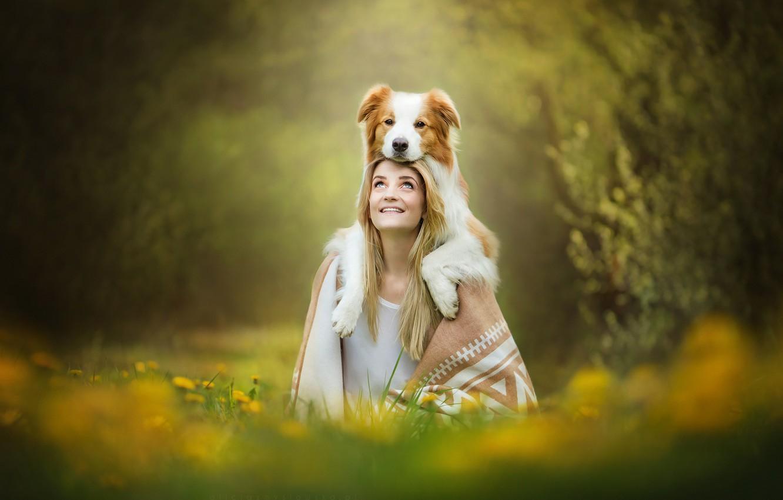 Photo wallpaper girl, smile, dog, red