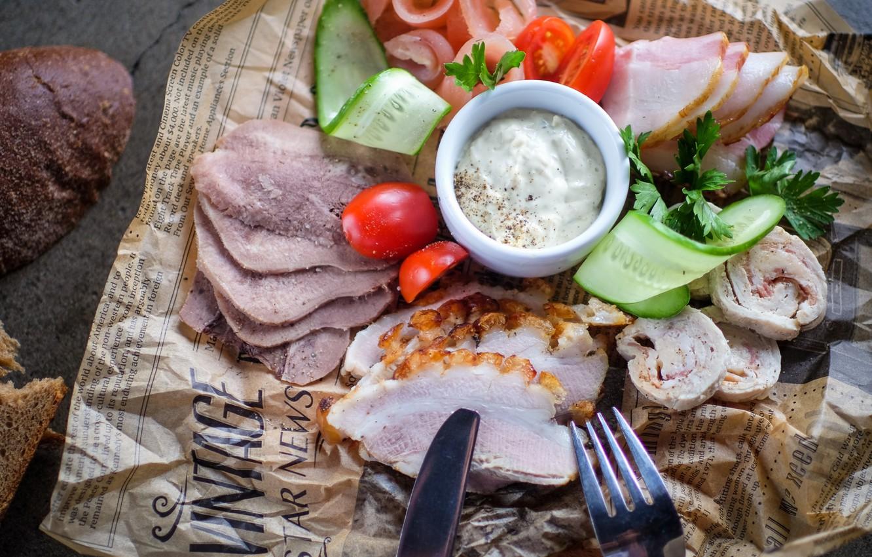 Photo wallpaper vegetables, sauce, sausage, cutting, appetizer, ham, fat