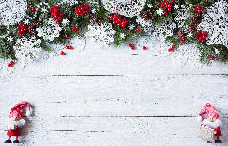 Photo wallpaper decoration, snowflakes, berries, tree, New Year, Christmas, hearts, Christmas, wood, Merry Christmas, Xmas, decoration