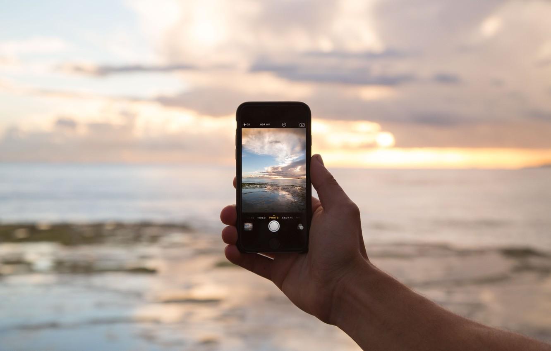 Photo wallpaper landscape, hand, camera, phone, iphone, screen, the, iPhone