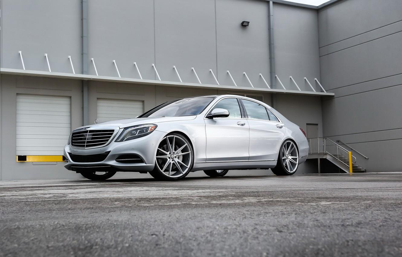 Photo wallpaper Mercedes, wheels, S550, lowered, on 22, Zenetti