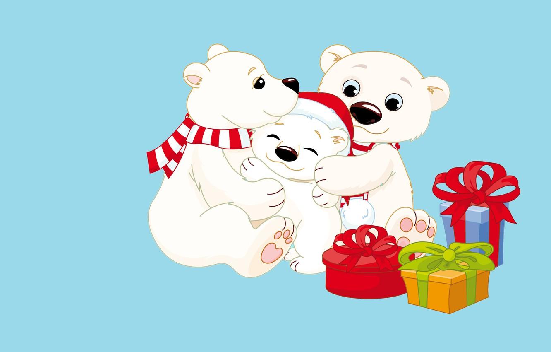 Photo wallpaper mood, holiday, gift, new year, vector, family, art, bear, mom, cap, dad, children's, Mishutka