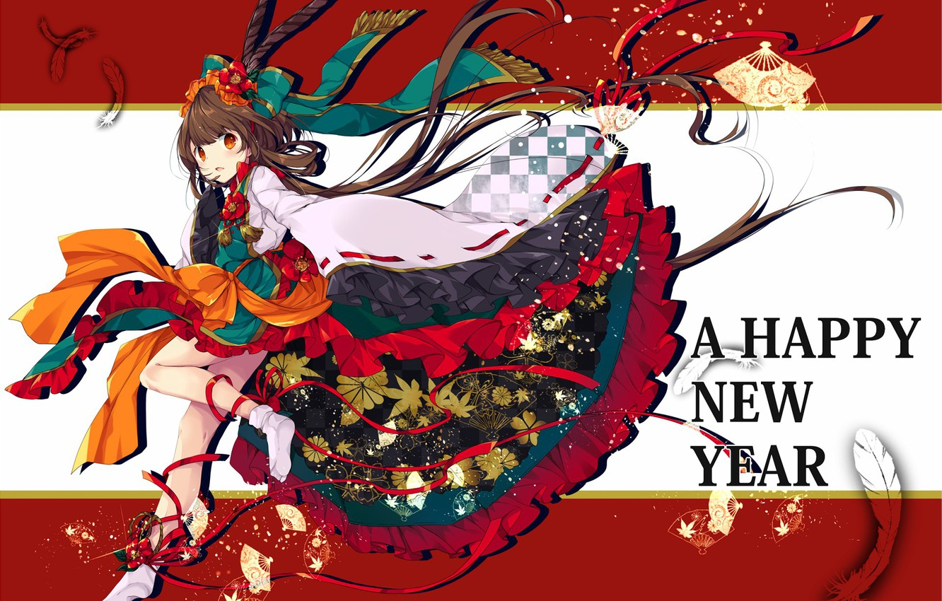 photo wallpaper kawaii girl woman anime happy new year brunette