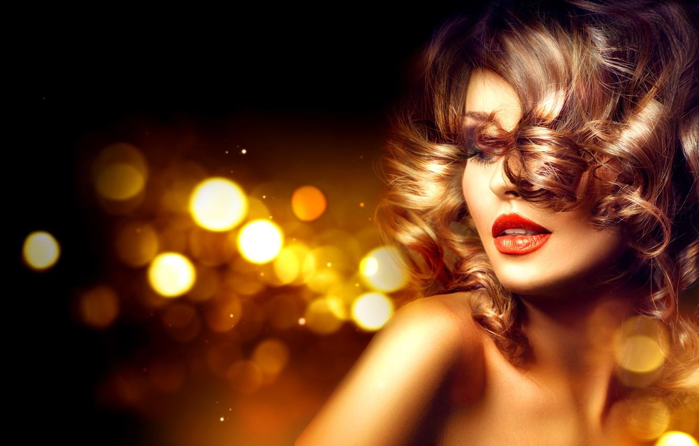 Photo wallpaper girl, eyelashes, model, hair, makeup, lips, curls
