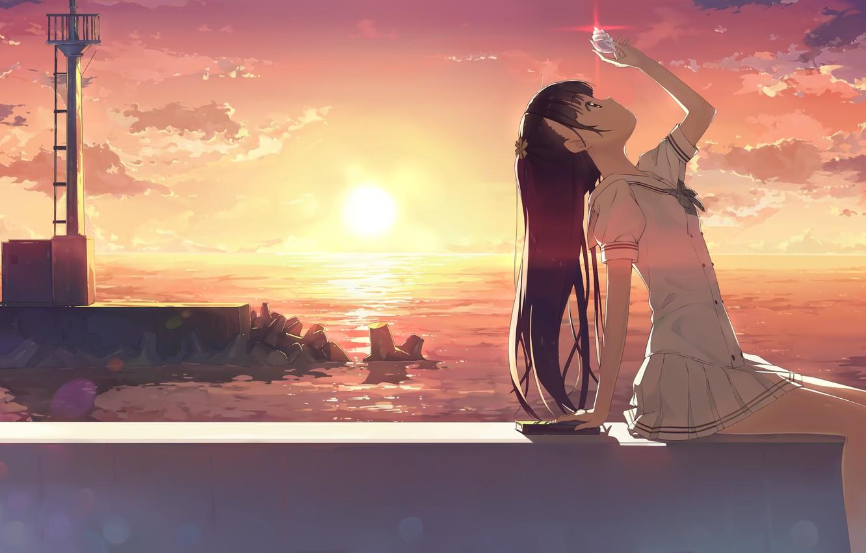 Photo wallpaper sunset, shell, art, girl, kantoku
