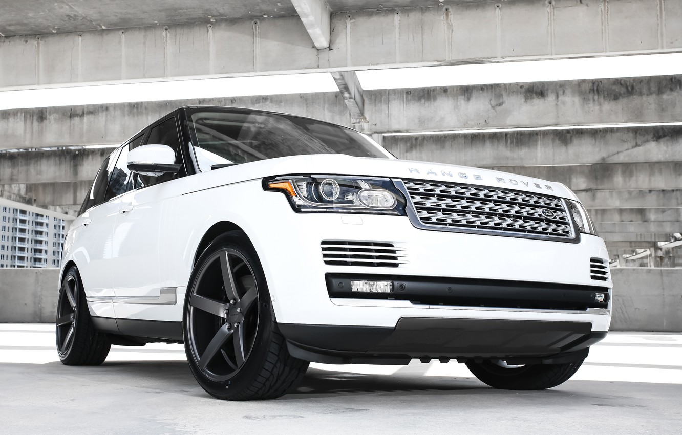 Photo wallpaper wheels, Range Rover, black, with, Vossen, roof, gloss, lowered, HSE, wrapped