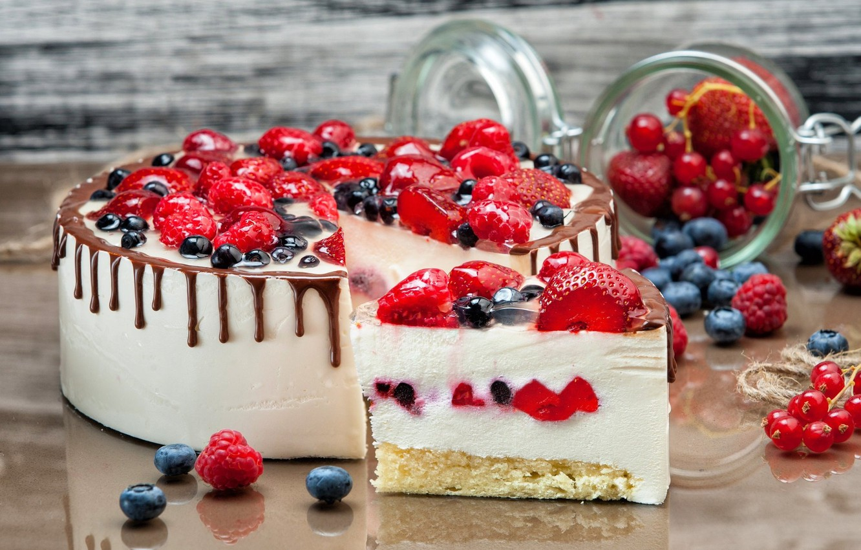 Photo wallpaper berries, raspberry, chocolate, strawberry, cake, dessert, currants, blueberries, souffle
