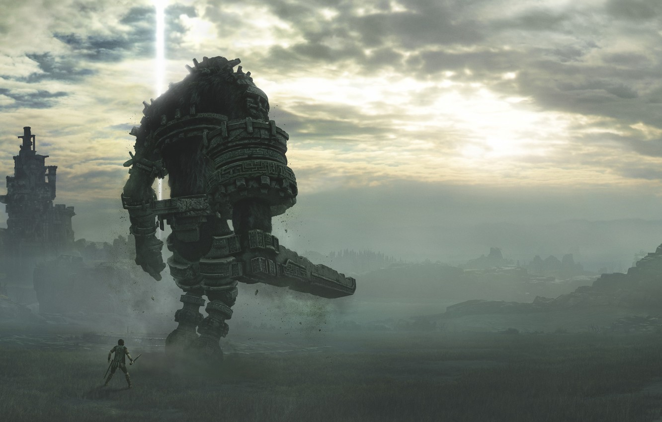 Photo wallpaper Shadow of the Colossus, Sony Interactive Entertainment, Сhasing a Сolossus