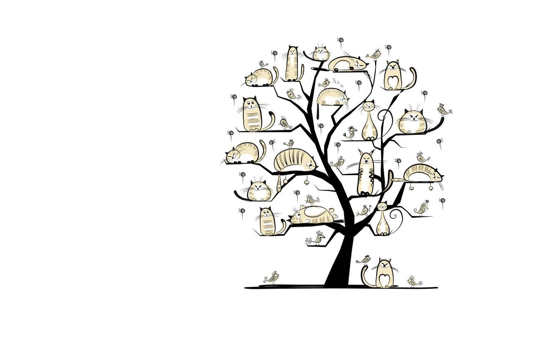 Photo wallpaper cat, tree, spring, art, March