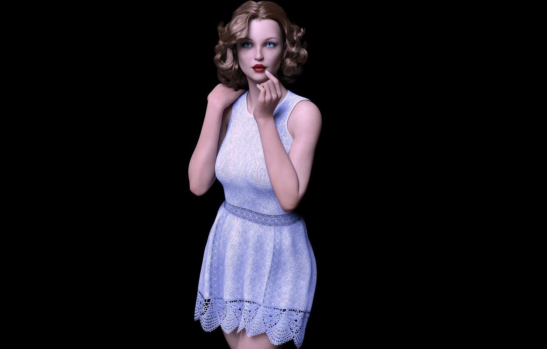 Photo wallpaper girl, makeup, lace dress