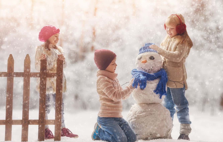 Photo wallpaper winter, snow, children, the game, snowman