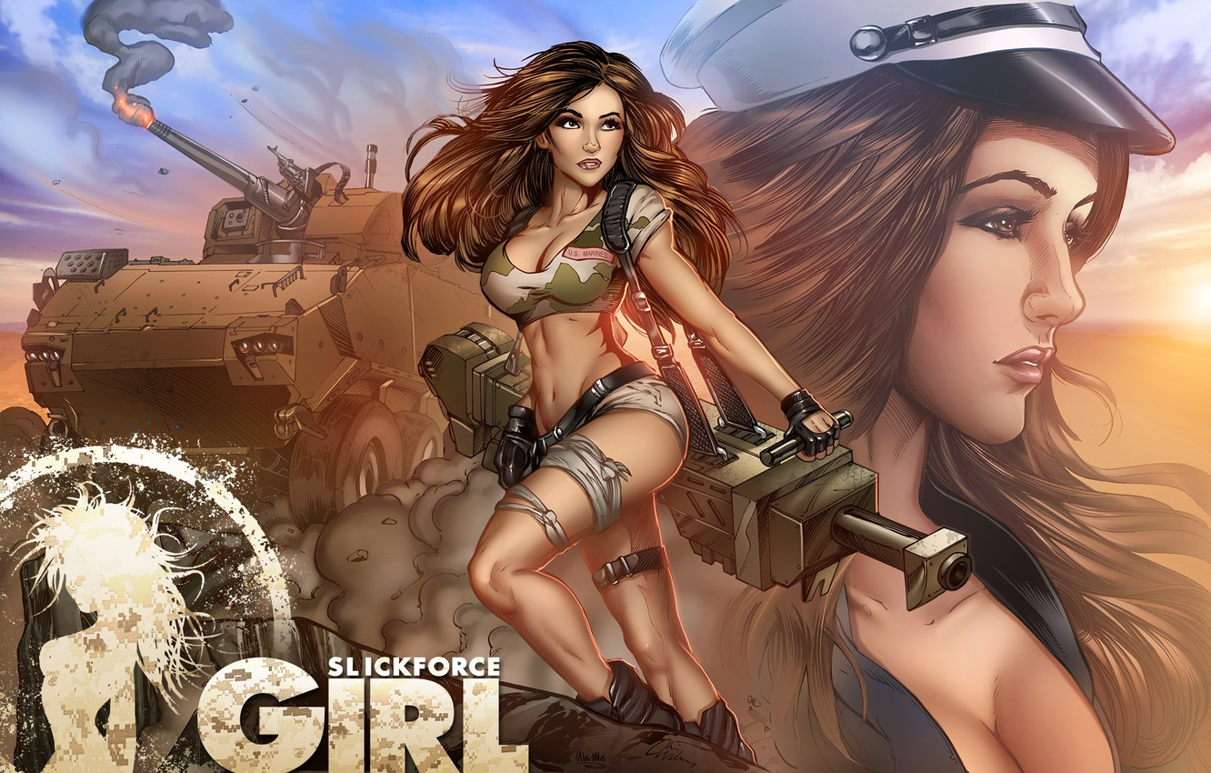 Photo wallpaper fire, girl, soldier, pose, Melanie