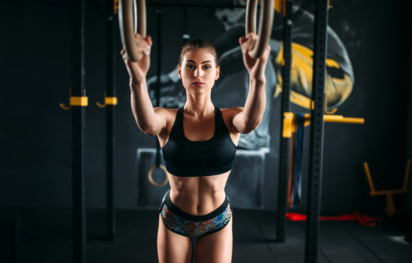 Photo wallpaper girl, pose, ring, makeup, figure, hairstyle, shorts, brown hair, topic, fitness, bokeh, the gym, training