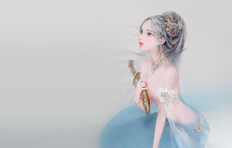 Photo wallpaper girl, fantasy, weapons, anime, art, dagger, tear, dadachyo