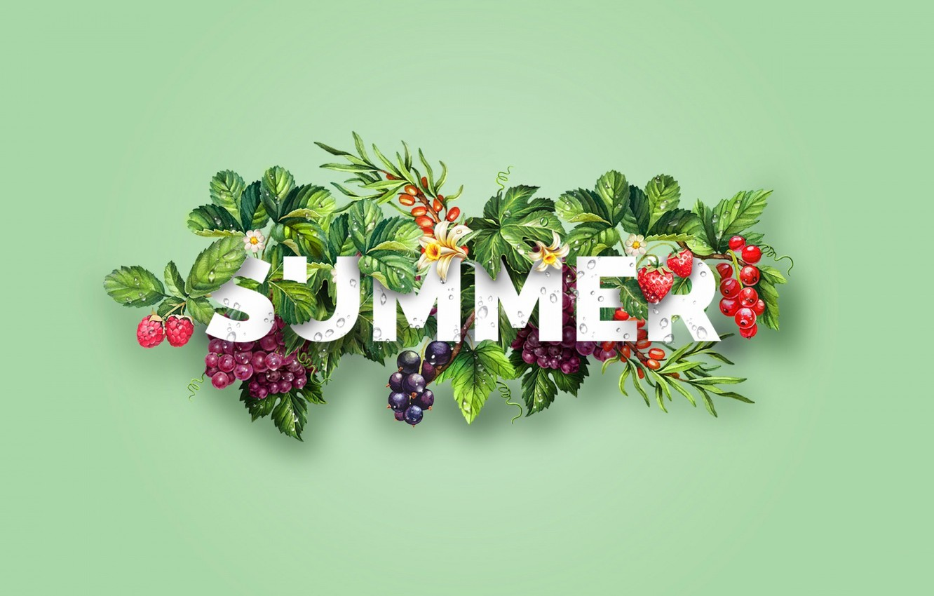 Photo wallpaper summer, berries, collage, vector, the word